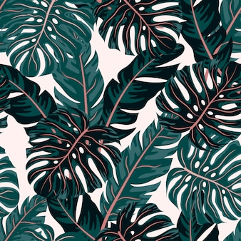 Tropical seamless pattern with plants and leaves