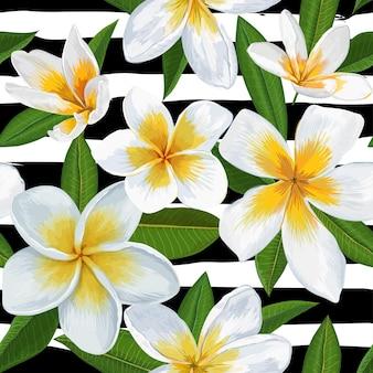プルメリアの花と熱帯のシームレスなパターン。壁紙、ファブリック、ラッピング、装飾のためのヤシの葉と花の背景。ベクトルイラスト