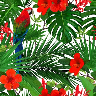 Tropical seamless pattern with red flowers and parrot macaw