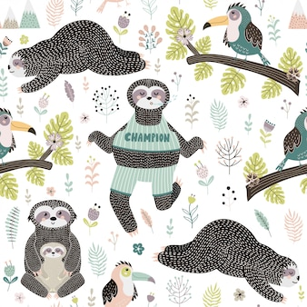 Tropical seamless pattern with sloths and bird sitting on the branch