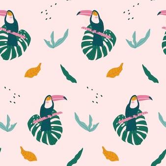 큰 부리 새, 이국적인 잎 열 대 완벽 한 패턴입니다.