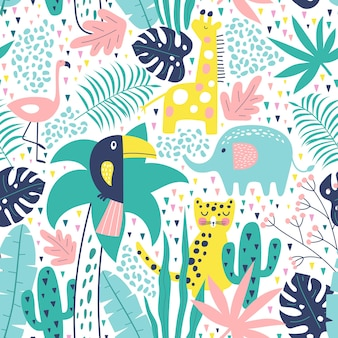 Tropical seamless pattern with toucan, flamingos, tiger, elephant, giraffe, cactuses and exotic leaves.