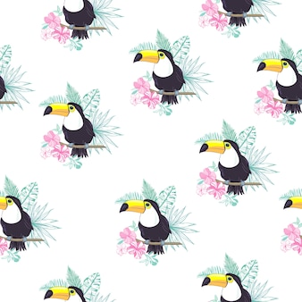 Tropical seamless pattern with toucans, exotic leaves