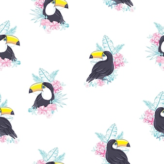 Tropical seamless pattern with toucans and exotic leaves
