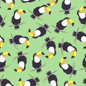 Tropical seamless pattern with toucans