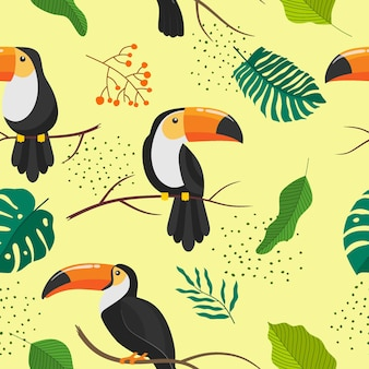 Tropical seamless pattern with toucans.