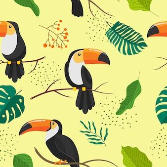 オオハシと熱帯のシームレスなパターン。