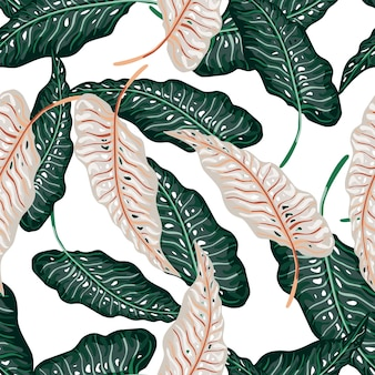 빈티지 잎 흰색 배경에 고립 된 열 대 완벽 한 패턴입니다.