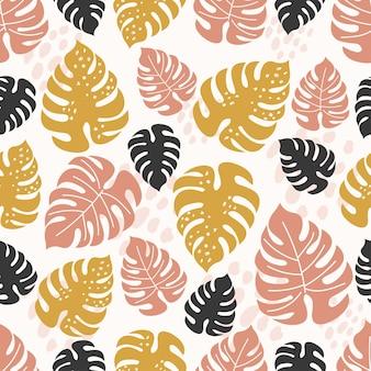 Тропический фон с желтыми и коричневыми листьями монстеры. тропические обои