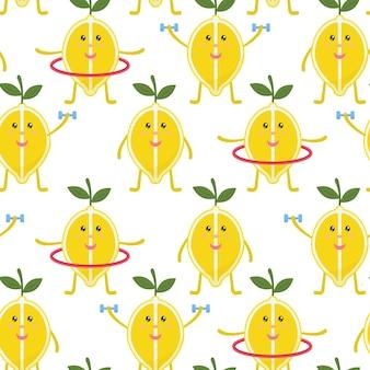 Тропический фон с желтыми лимонами фрукты повторяется фон