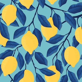 Tropical seamless pattern with yellow lemons. fruit repeated.