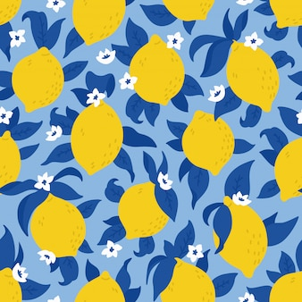 Tropical seamless pattern with yellow lemons. summer print with citrus, lemons, fresh fruits and flowers in hand drawn style. colorful vector background.