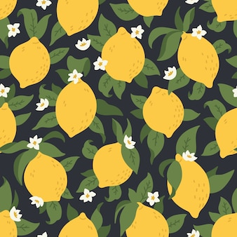 Tropical seamless pattern with yellow lemons