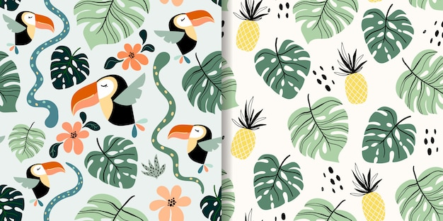 Tropical seamless patterns set with exotic birds and fruits, toucan, pineapple, modern design