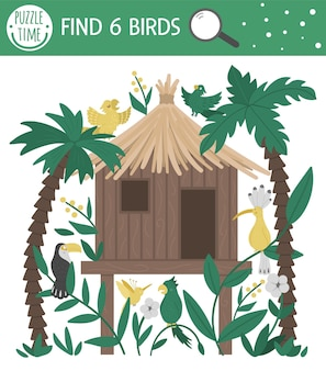 Tropical searching game for children with jungle hoot, parrots, toucan, hoopoe. cute funny smiling characters. find hidden birds in the tropic house. simple summer game.