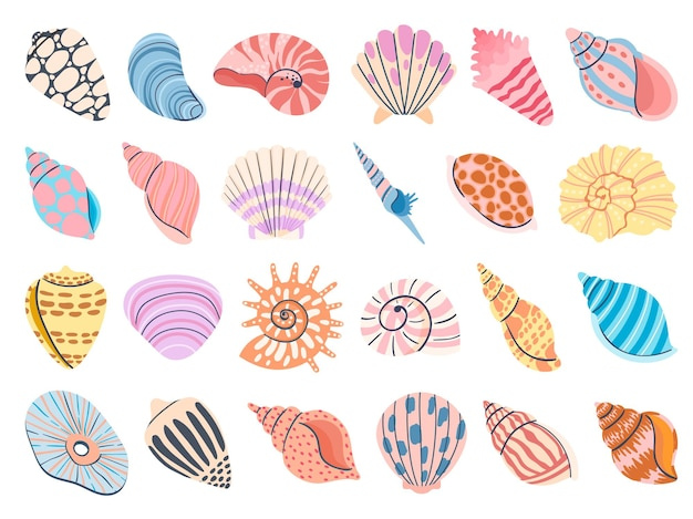 熱帯の貝殻。アサリ、カキ、ホタテの貝殻。軟体動物と海のカタツムリのカラフルな水中巻き貝。白で隔離の海の貝ベクトルセット。カラフルな海中要素