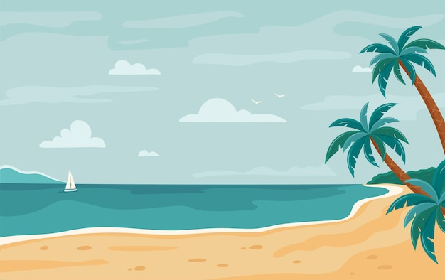 Тропический берег с пальмами и яхтой