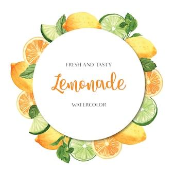 열대 계절 과일 화환 배너 디자인, 열정 과일 오렌지 신선하고 맛있는 프레임