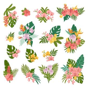 야자수 잎과 이국적인 꽃 난초 히비스커스 스트렐리치아 플루메리아 로터스 프로테아로 구성된 열대 꽃 꽃다발
