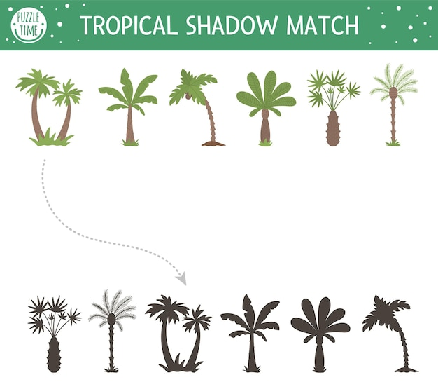 Tropical shadow matching activity for children. preschool jungle puzzle. cute exotic educational riddle. find the correct palm tree silhouette printable worksheet.