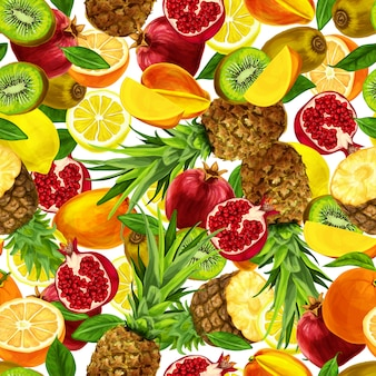 Tropical sliced fruits seamless pattern