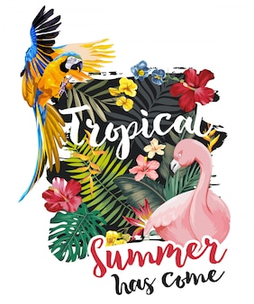 Tropical slogan with exotic forest flowers and animals