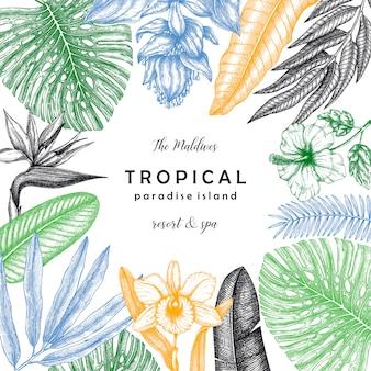 熱帯植物とヤシの葉を持つ熱帯の正方形の花輪。夏の招待状と手でグリーティングカードには、植物の要素が描画されます。ジャングルスタイルテンプレート。