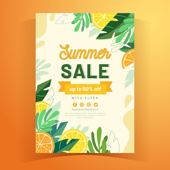 Tropical summer a5 flyer template