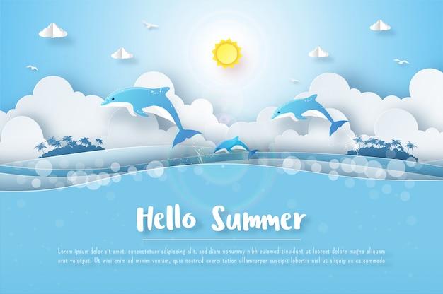 熱帯の夏の背景、海のイルカ