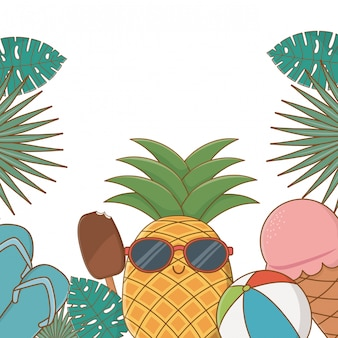 Tropical summer background with cartoons