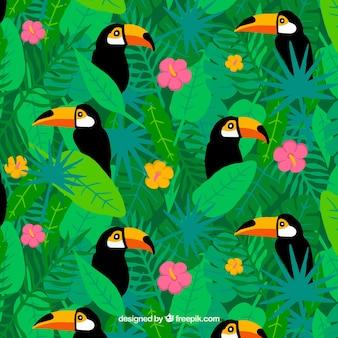 Тропический летний фон с милыми туканами