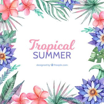 Tropical summer background with different flores