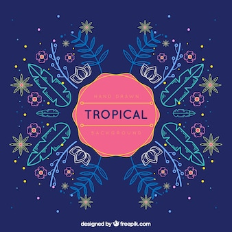 Tropical summer background with plants in monolines
