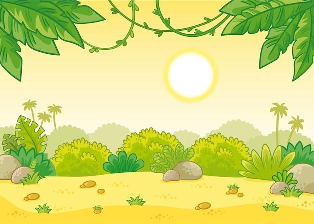 뜨거운 태양이 있는 열대 여름 배경