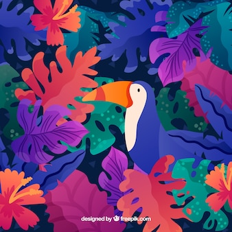 Tropical summer background with toucan and colorful plants