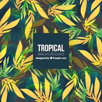 Tropical summer background with yellow and green plants