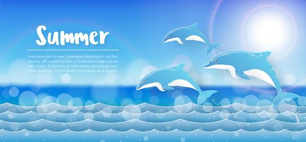 熱帯の夏のバナーの背景、イルカが海でジャンプ
