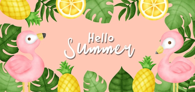 Тропическое лето баннер с фламинго