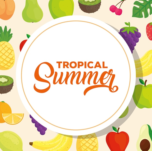 新鮮な果物と熱帯の夏のバナー