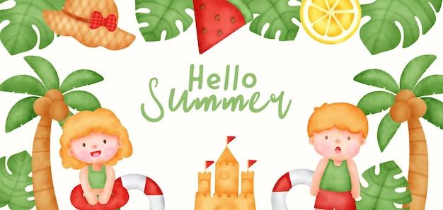 여름 요소와 열 대 여름 배너