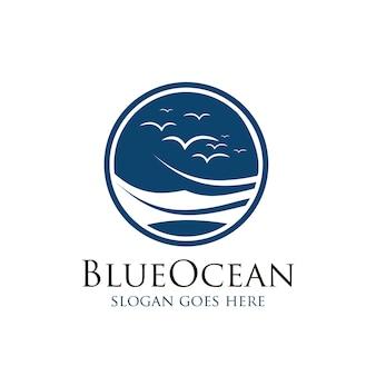 Tropical summer blue ocean logo design.