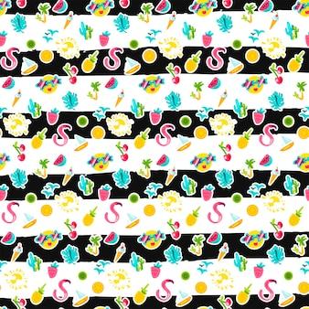 열 대 여름 색상 완벽 한 패턴입니다. 휴가, 리조트. 줄무늬 배경에 휴일 액세서리