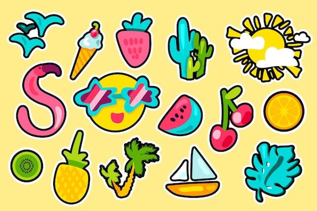 熱帯の夏の色ベクトルステッカーセット。手描きのホリデーアクセサリー。休暇の漫画のパッチ