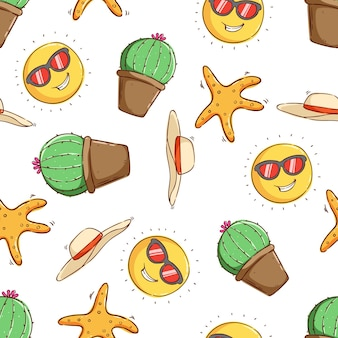シームレス パターン サボテン ヒトデ ビーチ帽子と太陽の漫画の熱帯の夏のコンセプト
