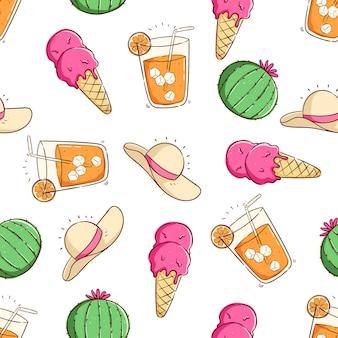 원활한 패턴 아이스크림 선인장 오렌지 주스 패턴에서 열 대 여름 개념