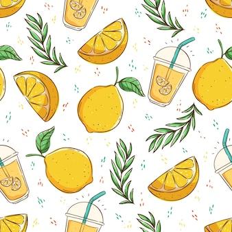 원활한 패턴 레몬 슬라이스와 라임 주스에 열 대 여름 개념