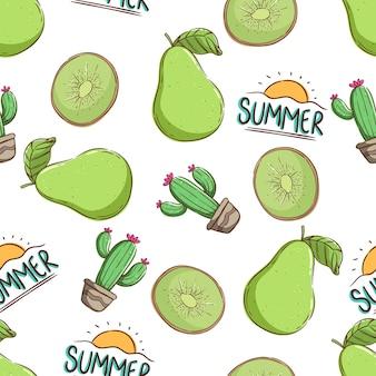 원활한 패턴 배 선인장과 키위에 열 대 여름 개념