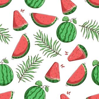 원활한 패턴 수박 조각과 잎에 열 대 여름 개념