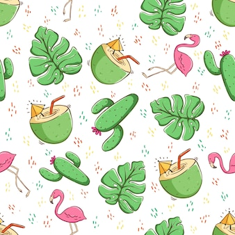 Tropical summer concept in seamless pattern coconut drink cactus and flamingo