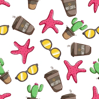 Tropical summer concept in seamless pattern ice cream cactus orange juice pattern